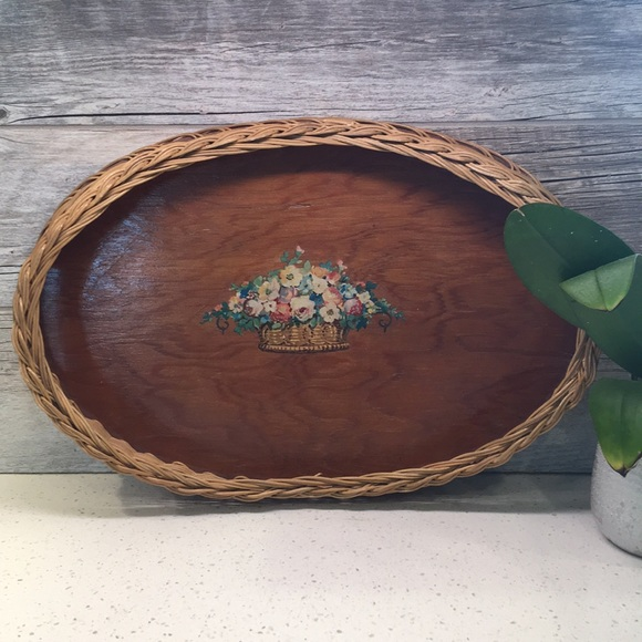 Vintage Handmade Wicker and Wood Tray